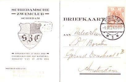 Briefkaart – Hoe verging het een SZC-waterpolosecretaris in 1924?
