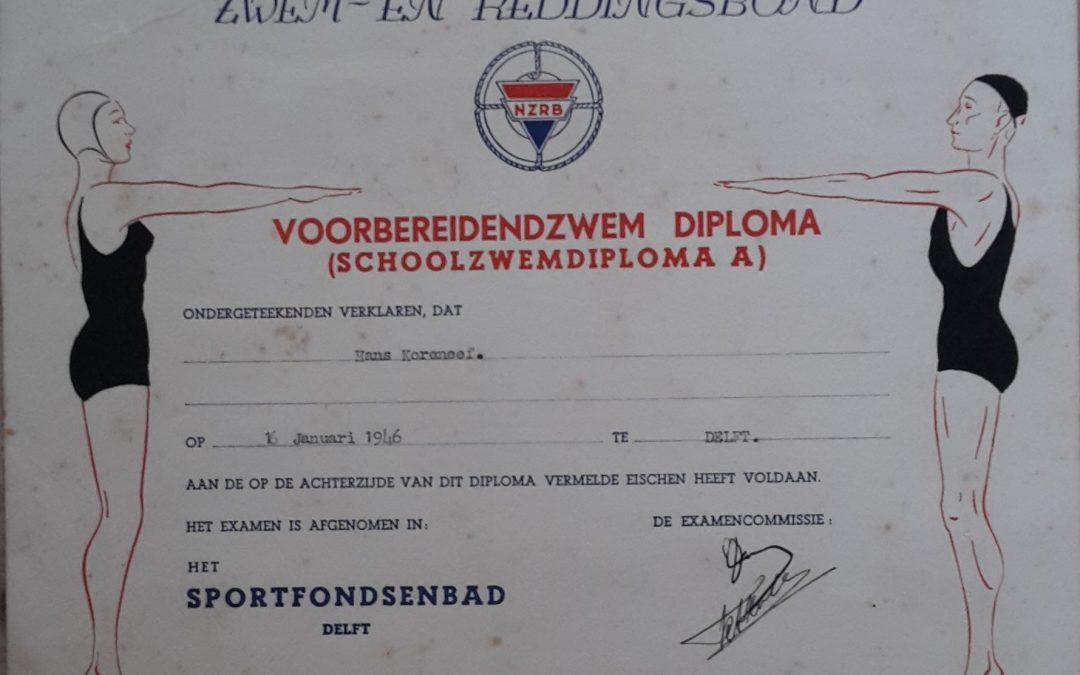 Diploma – Voorbereidend Zwemdiploma (Schoolzwemdiploma A) (1946)