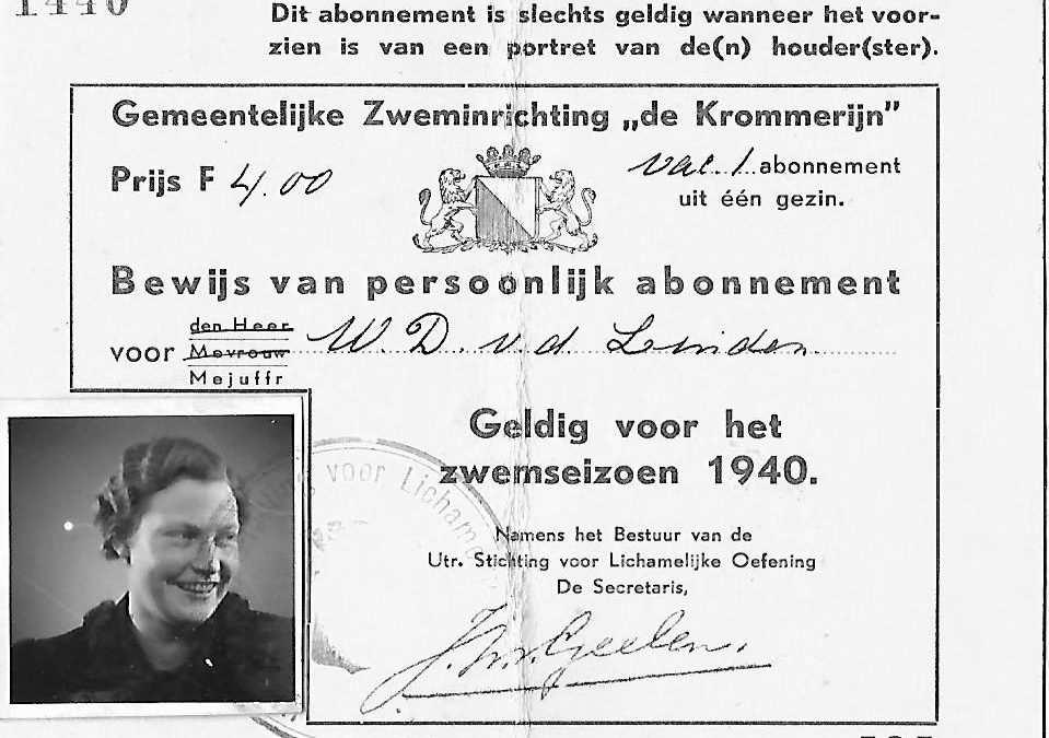 """Abonnement Gemeentelijke Zweminrichting """"de Krommerijn"""" (1940)"""