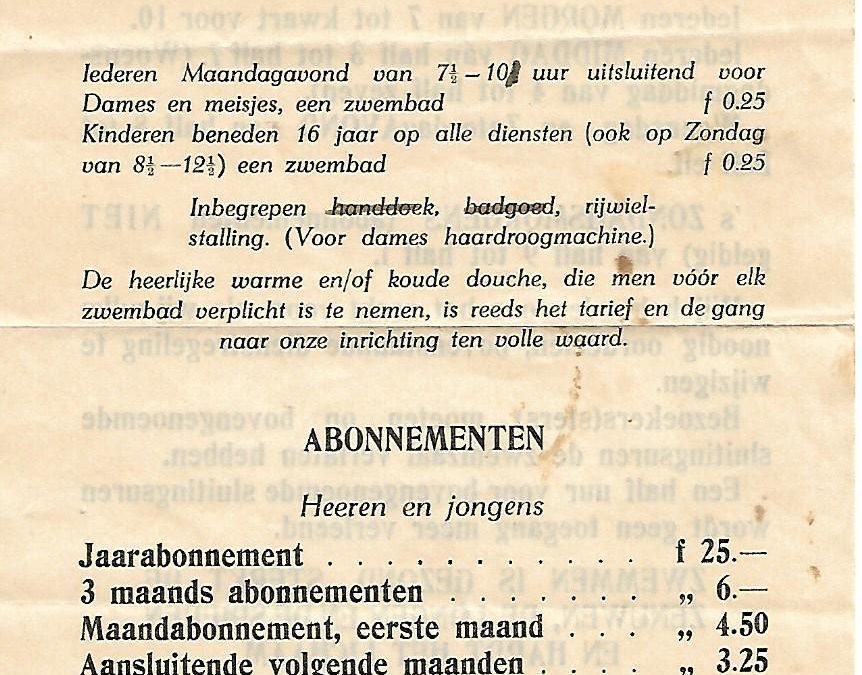 Prijslijst – Zuiderbad Amsterdam (1941)